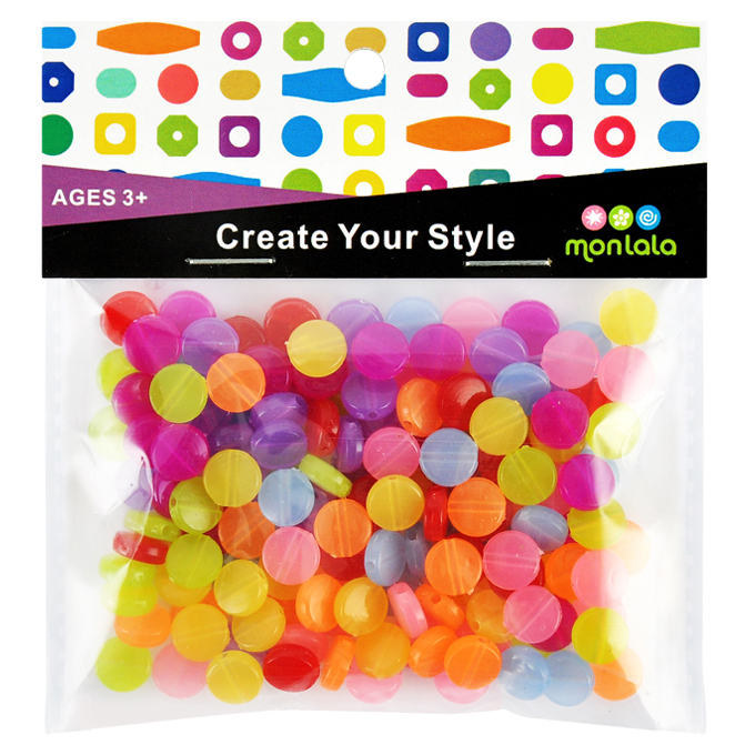 Assorted Colorful Beads, Acrylic beads,Flat Round Beads 9mm