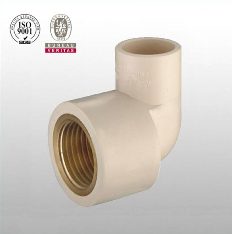 HJ brand CPVC ASTM D2846 pipe fitting female elbow with brass