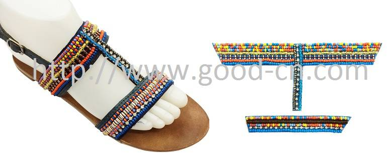colorful shoes decorations beaded upper Rhinestones upper sandal ornaments