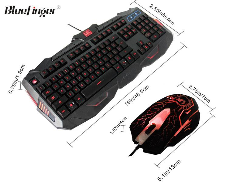 USB Wired Cool Crack Colored backlit Gaming Keyboard and Mouse Combo for desktop