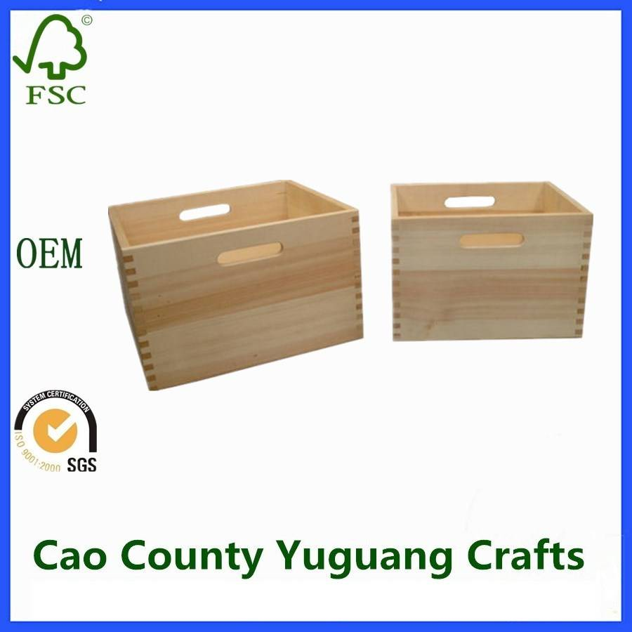 Unfinished Pine Wooden Crates Industrial Storage Crates Gift Wood Crate