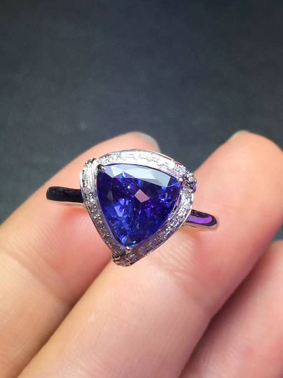 2016 Fashion 18k Gold Inlay Natural Tanzanite Ring