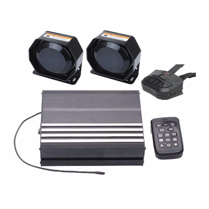 200W Electronic Siren Kit with Dual Wireless Remote Two Speakers Microphone 20 Tones 12V DC