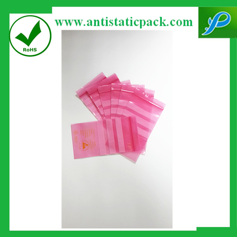 Pink Biodegradable Anti Static Bag Packaging Resealable Flat Packaging Bag