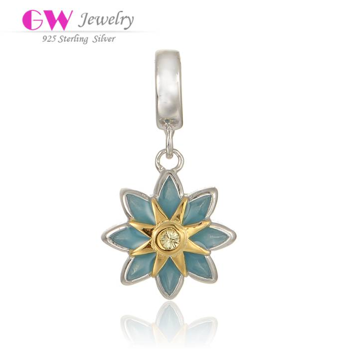 Wholesale DIY Jewelry Sunburst 925 Sterling Silver Dangle Charm With Enamel S143