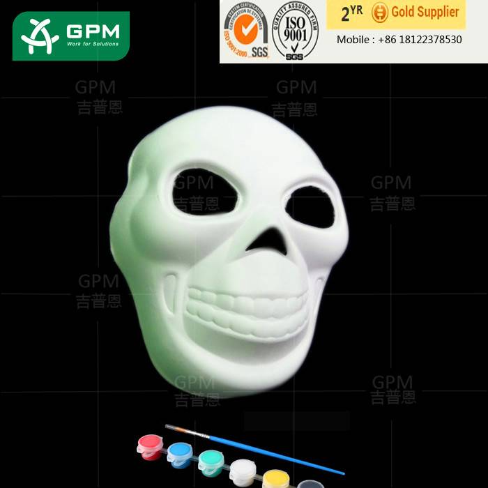 China wholesale White Art Print Skull Design face mask for halloween decoration