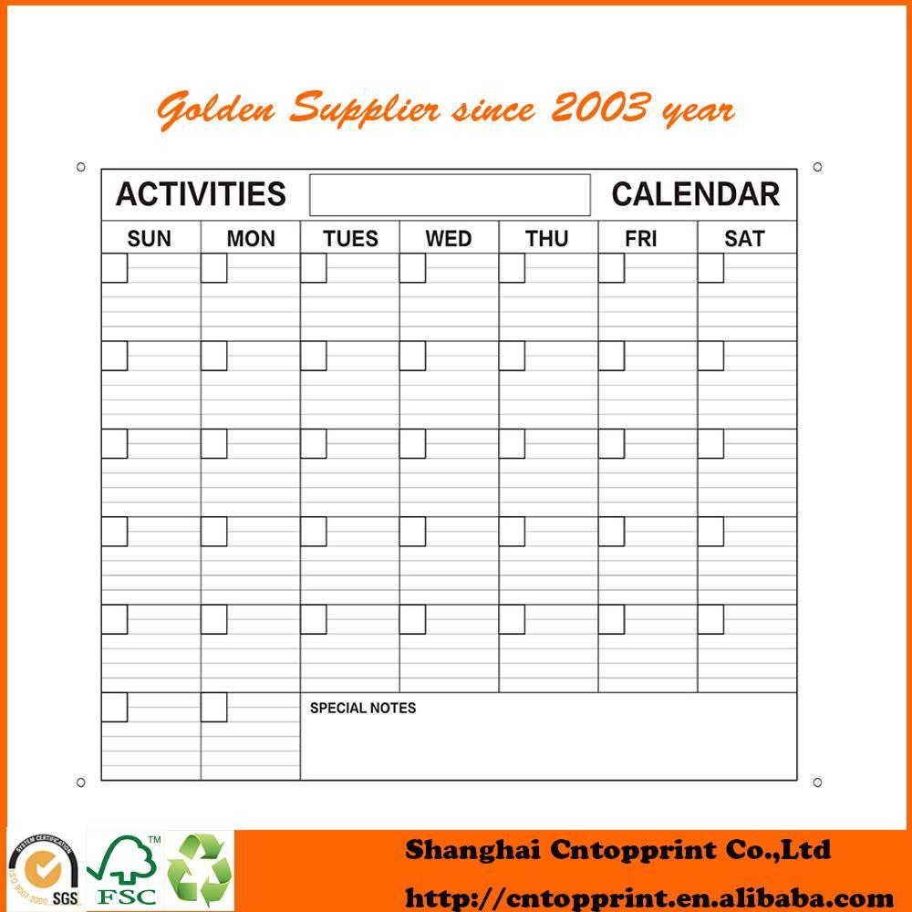DIY Reused Eraserable wall Calendar Printing 2016