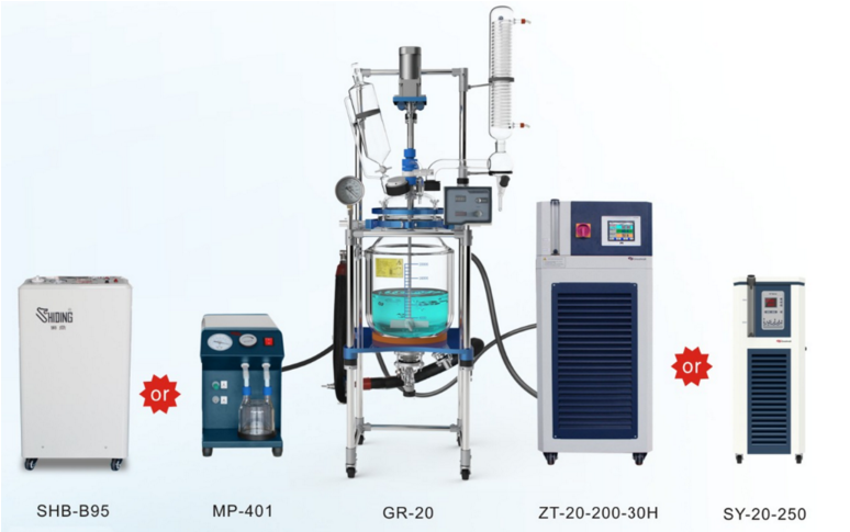 University Use 20L Two-layer Jacketed Glass Chemical Reactor with Vacuum Pump and Chiller