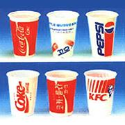Disposable cups on plastic