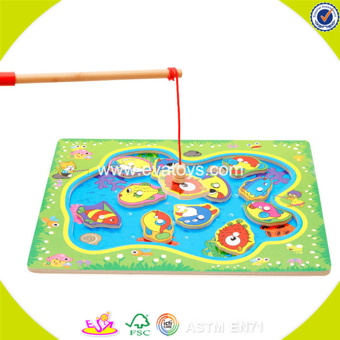 2017 New products baby wooden magnetic fishing game funny kids wooden magnetic fishing game best