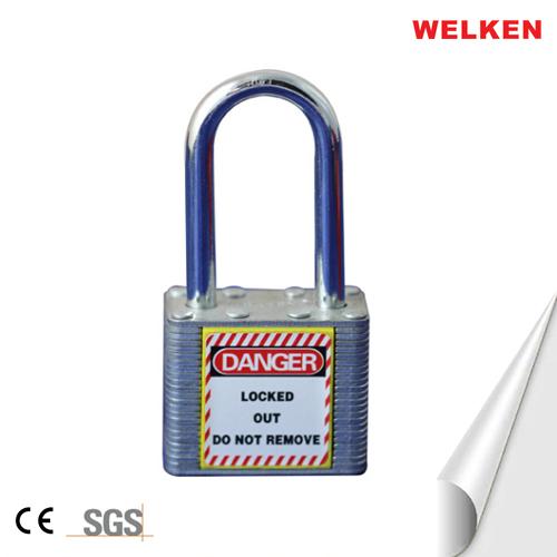 Laminated steel long shackle padlock
