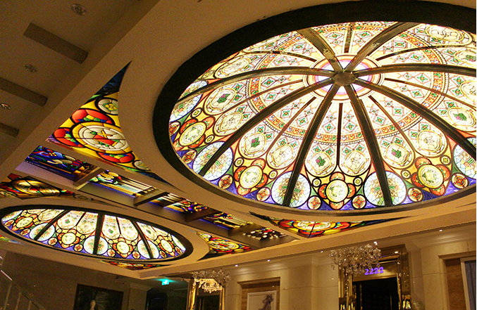 decorative glass dome for buiding with customized patterns