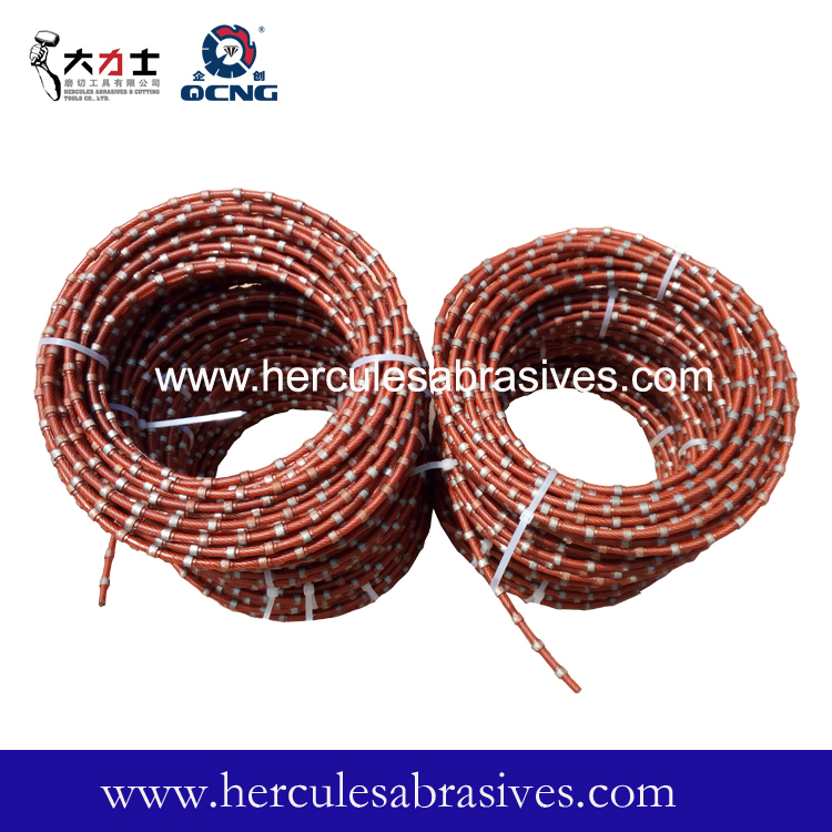 Diamond wire saw for cutting sandstone
