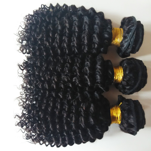 Peruvian hair Remy hair kindy curly Natural black 100g 16inch Deep wave Water wave Body wave