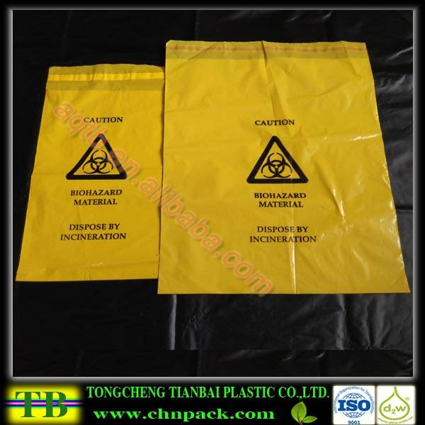 yellow specimen bag with biohazard logo printed