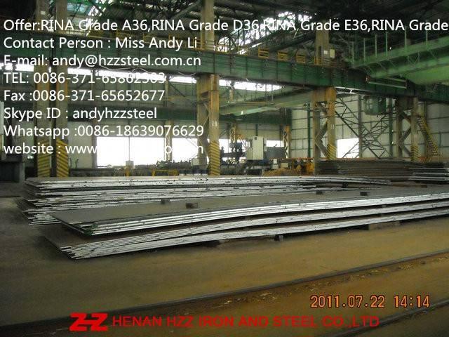 RINA Grade A36,RINA Grade D36,RINA Grade E36,RINA Grade F36,Shipbuilding Steel Plate,Marine Steel pl