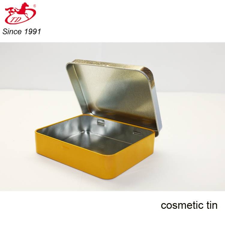 Rectangle cosmetic metal tin can, hand cream/card/candy  safe tin box