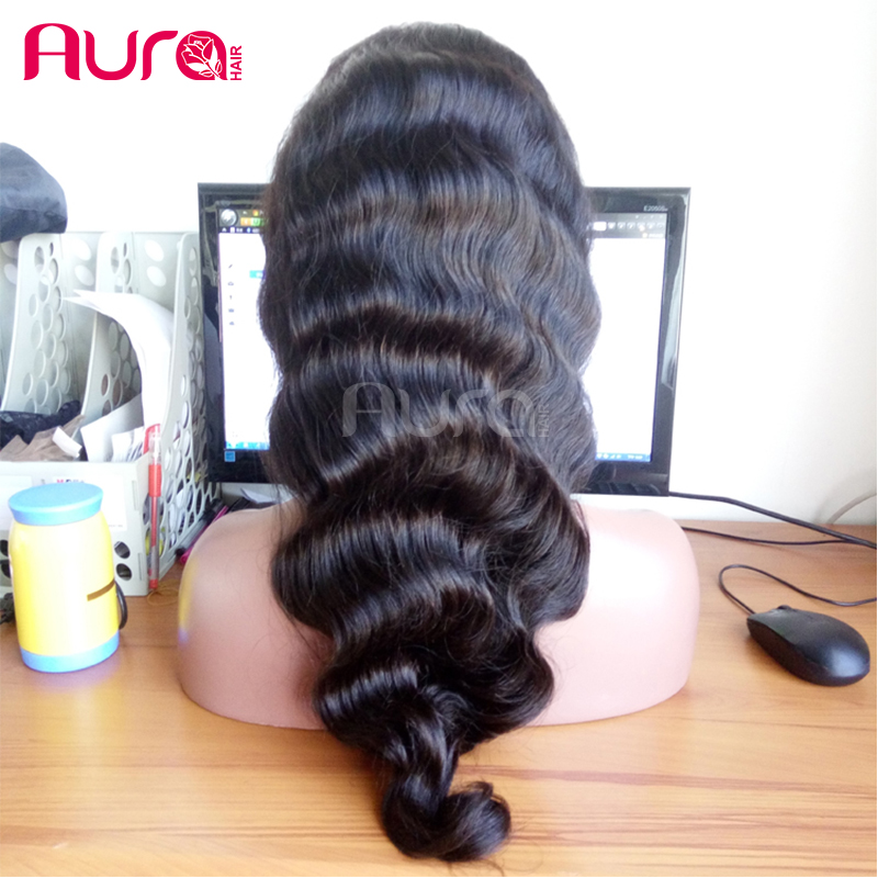 "Best Quality Natural Black Color Full Lace Wigs Original Virgin Peruvian Human Hair 8""-26""In Stock"