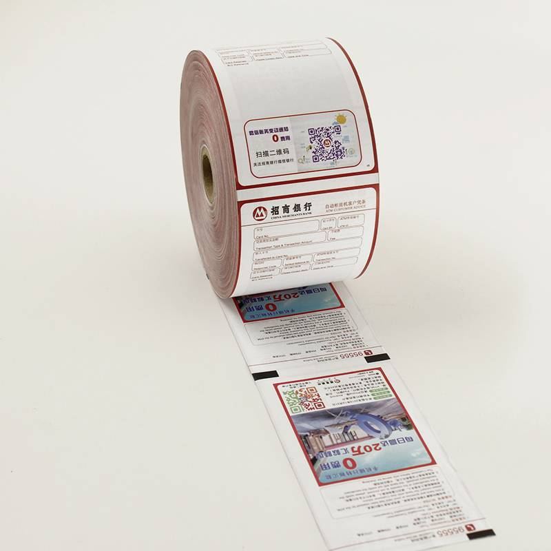 "3 1/8"" 4 color printing ATM paper roll"