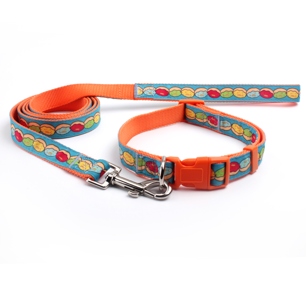Unique dog collars and leashes for sale: Hot sale custom logo nylon dog collars and leashes