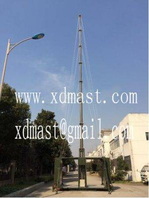 20m heavy duty telescoping telecommunication antenna tower mast in shelter and mobile shelter antenn