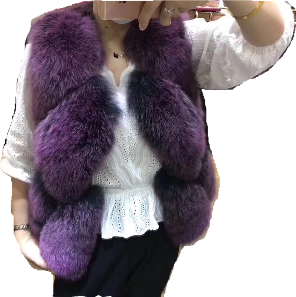 Fashion design genuine fox fur vest