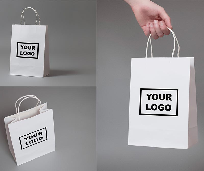 Wholesale TOP Quality Reusable Custom Logo printing Kraft Paper Bag handle bag