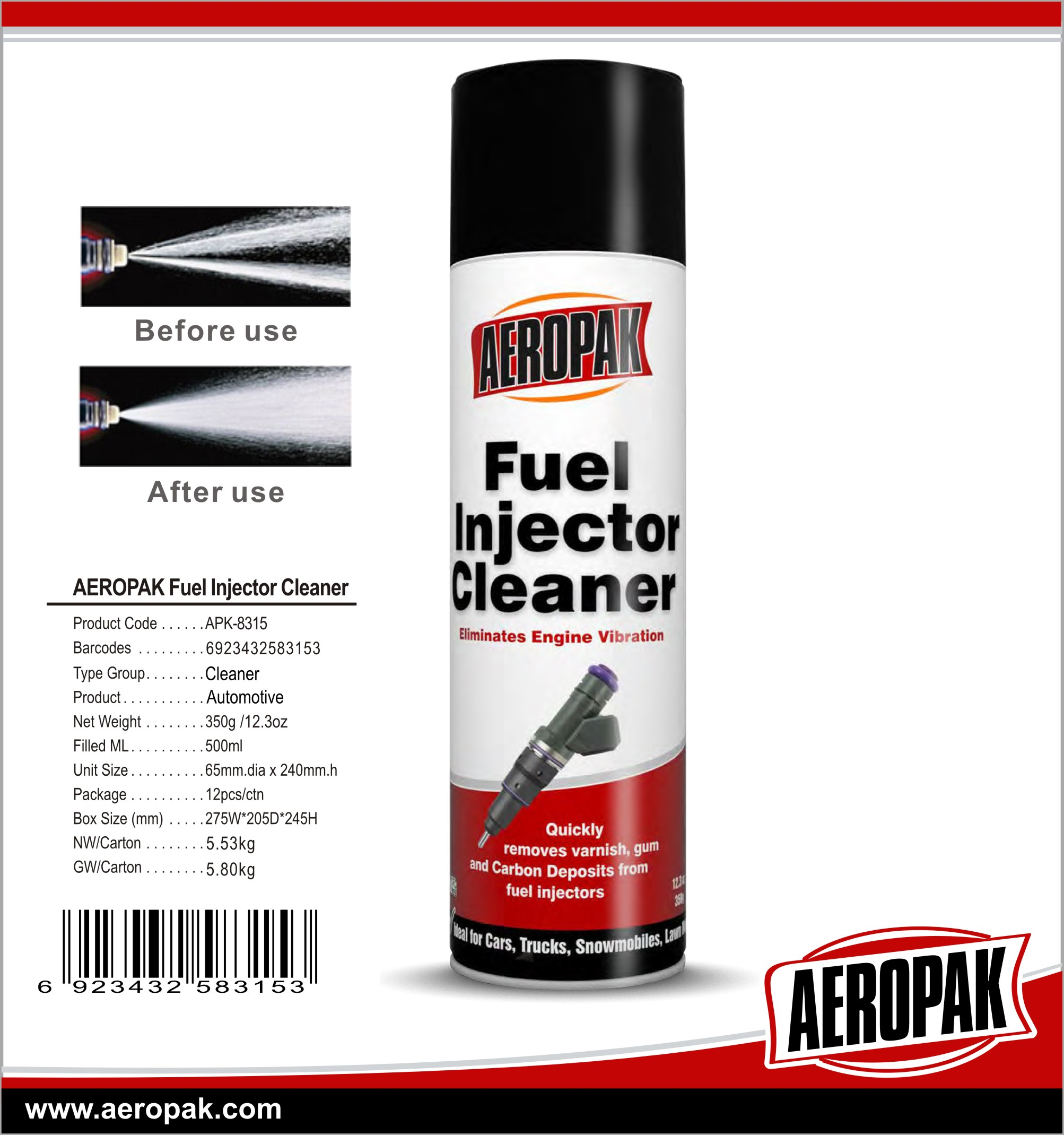 AEROPAK High Efficiency Fuel Injector Cleaner Liquid For Car Care