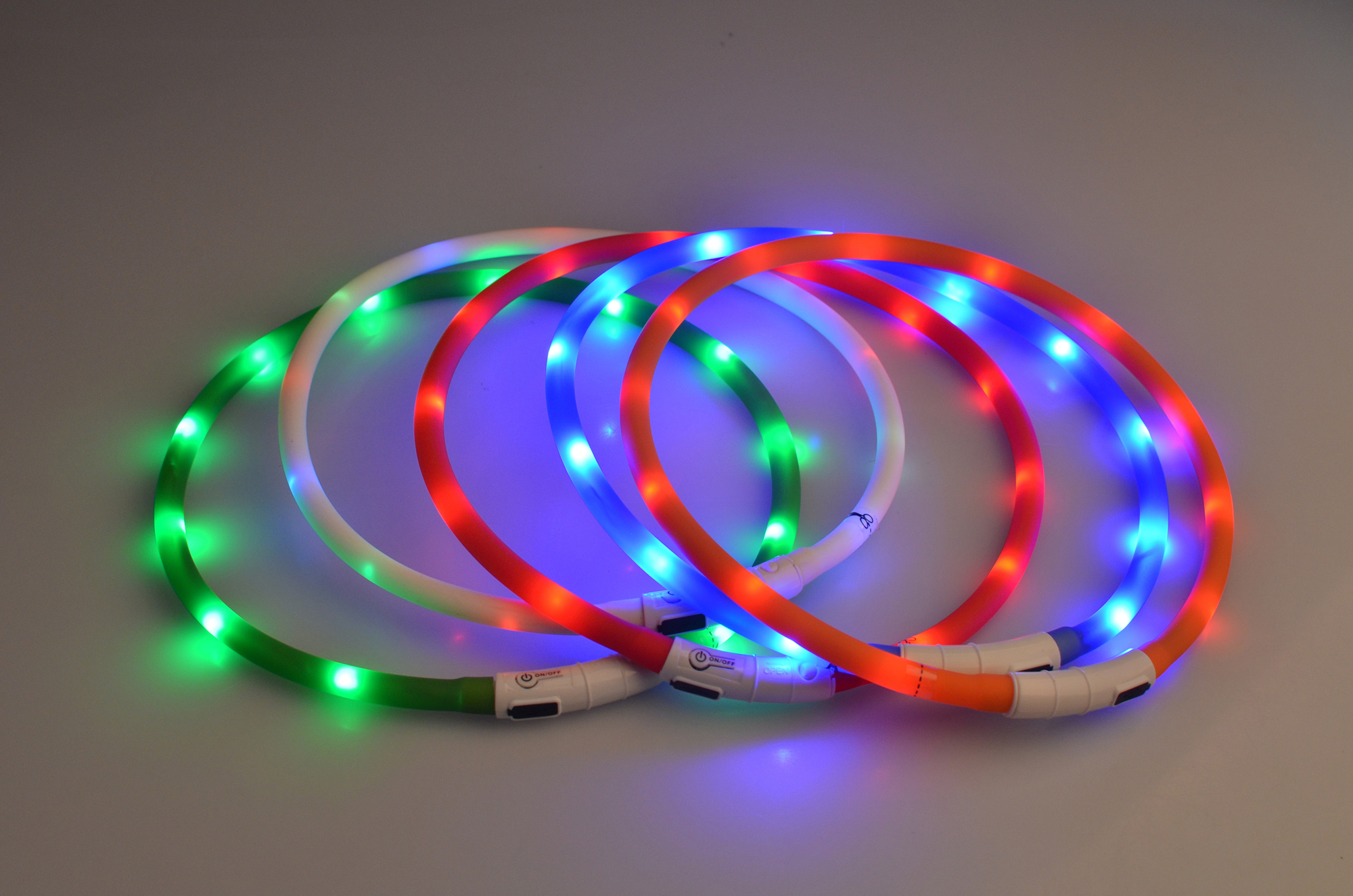 LED USB rechargeable round tube lamp flashing dog collar