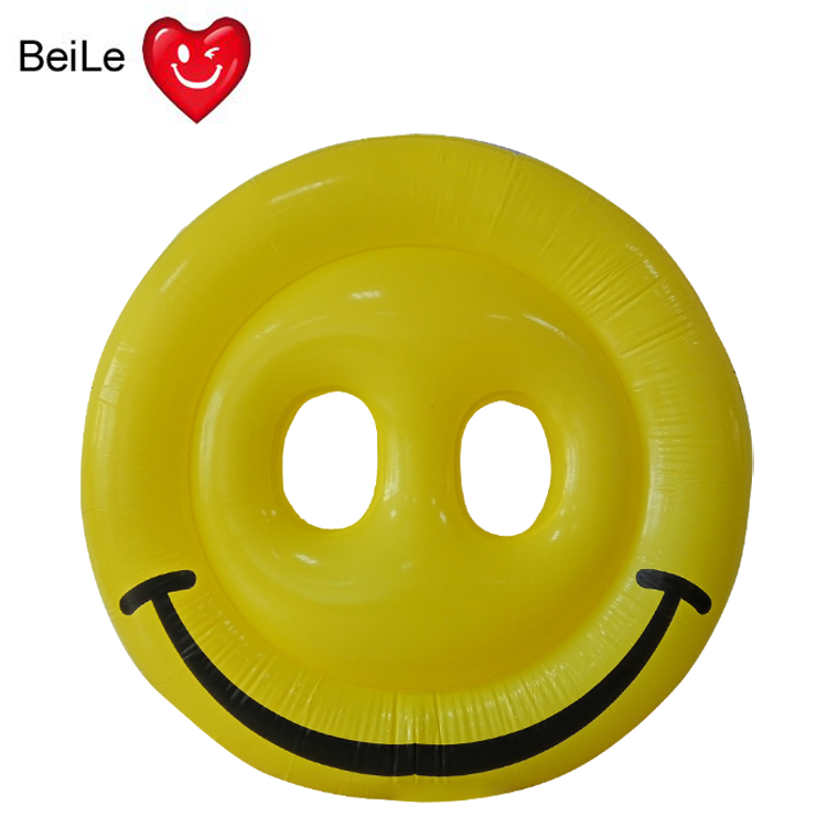 Customized yellow smile face inflatable water float