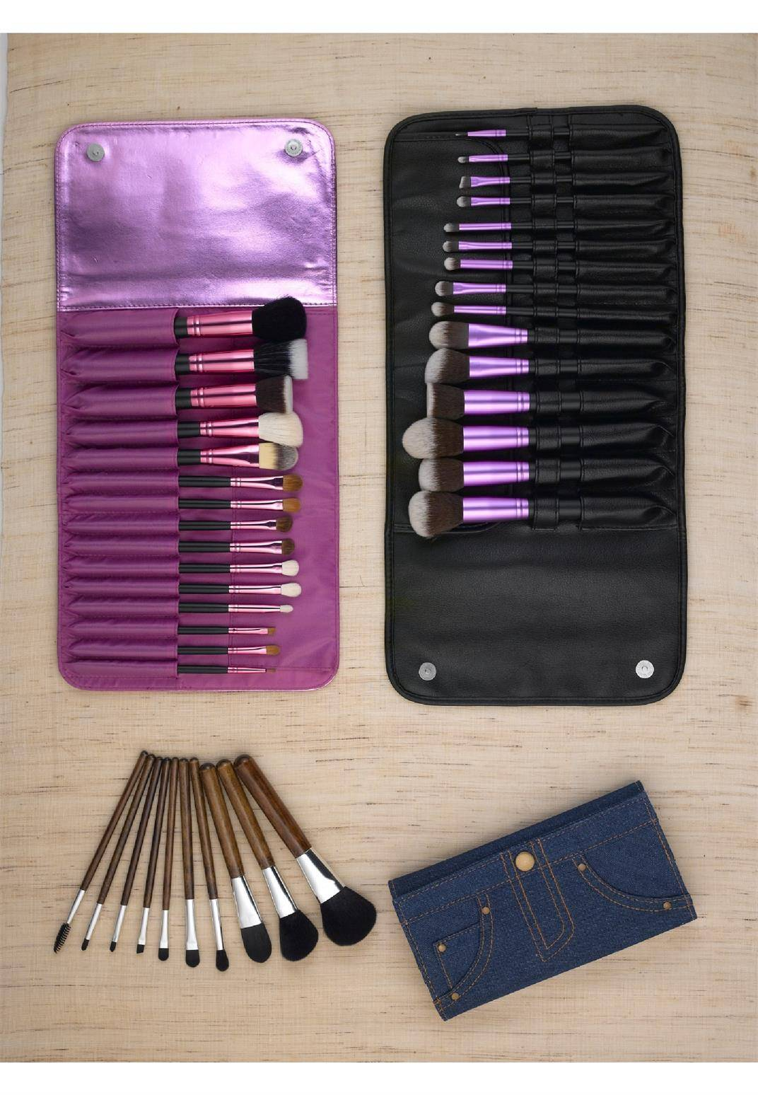 Professional Wood Makeup Brush Set Foundation Brushes Makeup Brushes different brush set with pouch