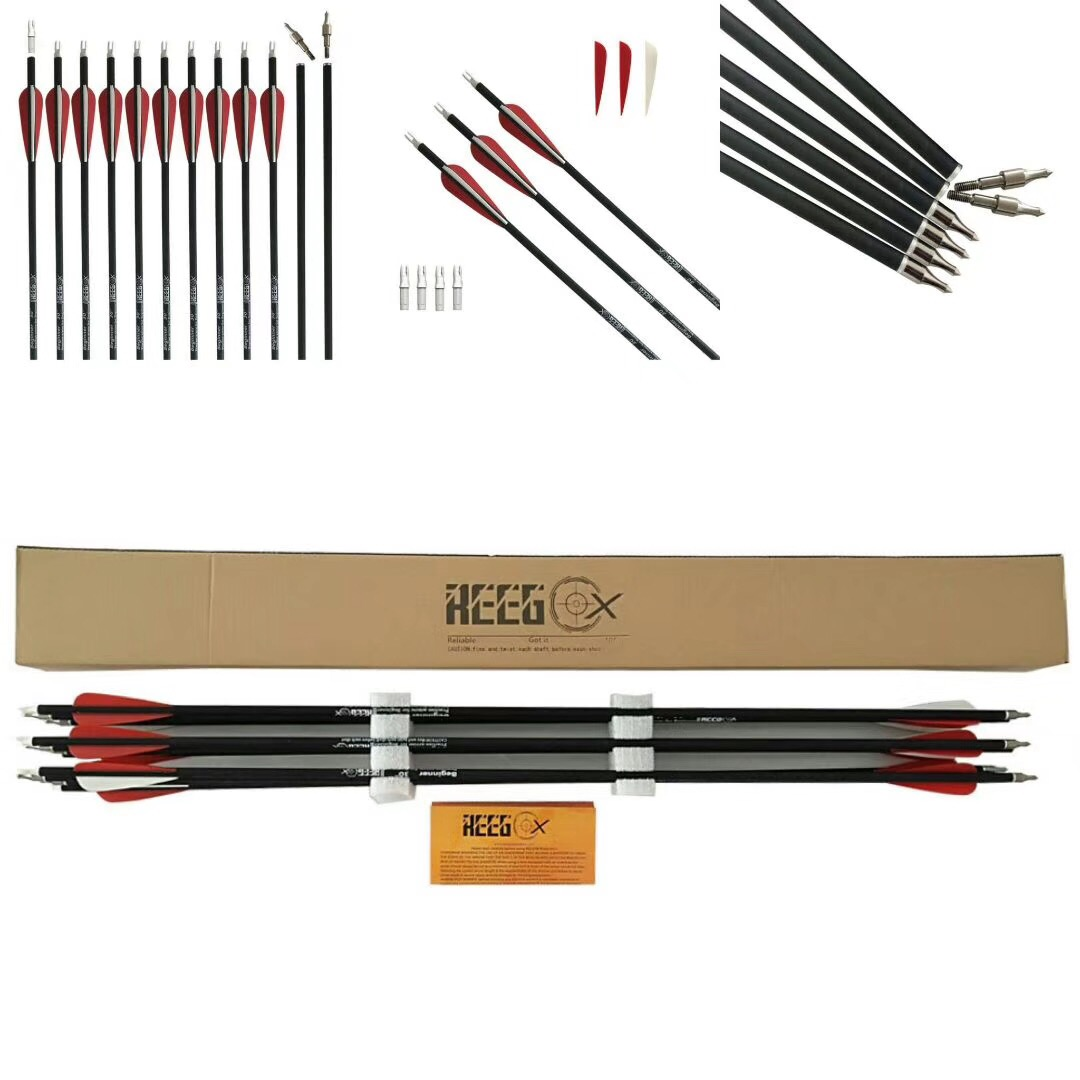 30 Inch Archery Carbon Arrow REEGOX Beginner Target and Practice Hunting Arrow with Field Points Rep