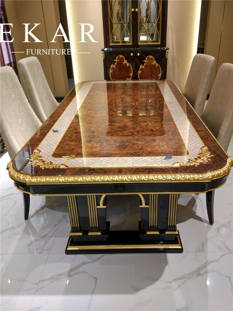 Classic italian luxury veneer high gloss dining room furniture sets