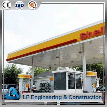 Steel roof space frame petrol station construction