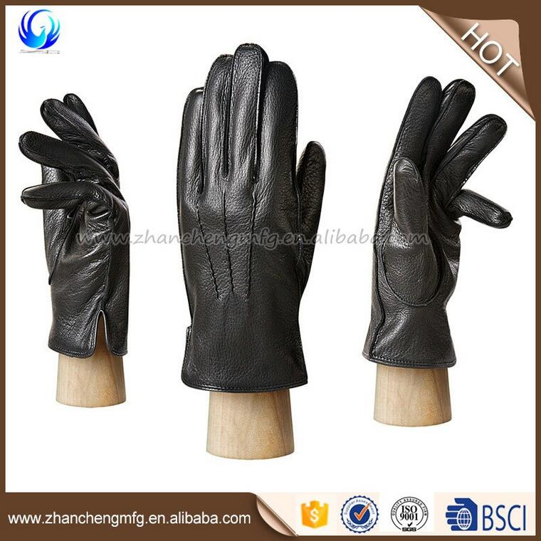 Classic mens winter deerskin B grade leather hand touch gloves