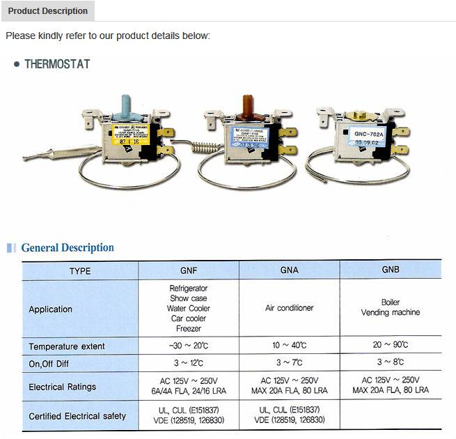 Thermostat for air conditioner