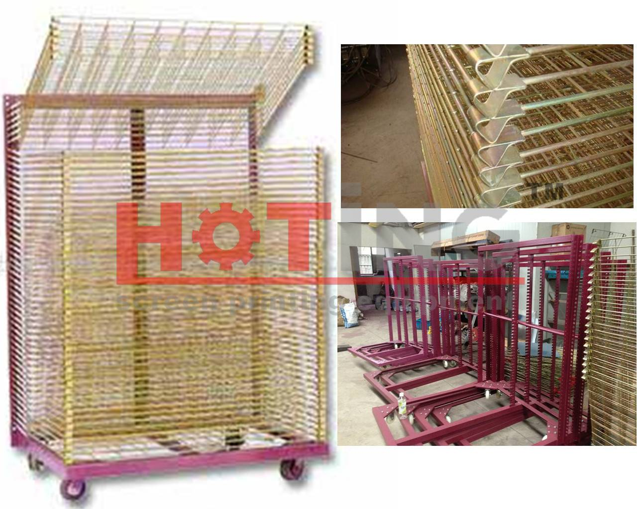 Screen printing drying racks