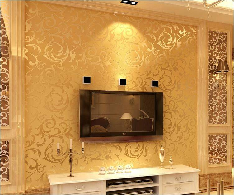 High quality European style wallpaper Non-woven Gold color