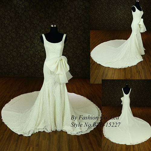 New Designer 2015 Very Sexy Sleeveless bowknot belt Embroidered Crystal Low Back Mermaid Expensive W