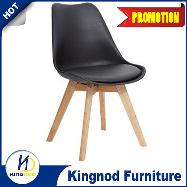 Modern Design Plastic PU Cushion Wooden Tulip Chair C-487