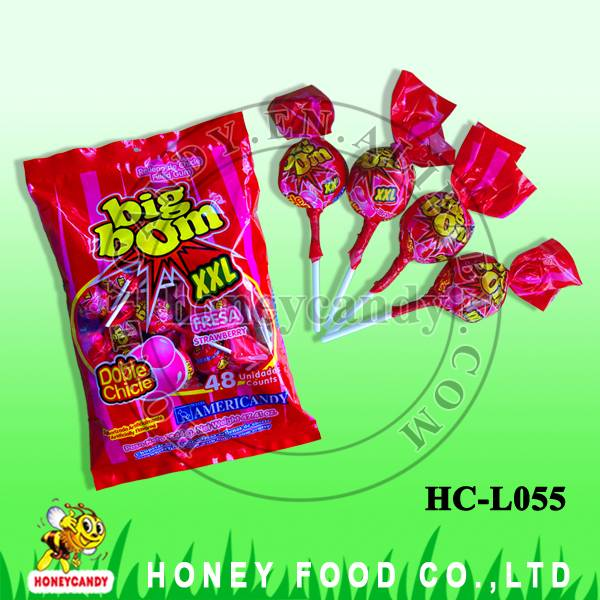 25g Big Bom Twisted Wrapper Strawberry Lollipop with Bubble Gum
