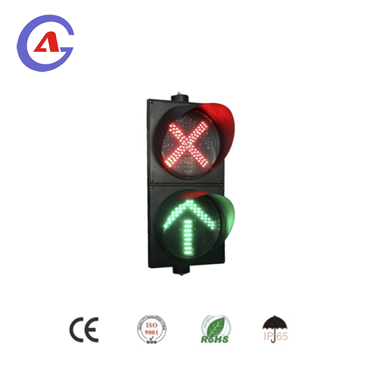 2 section red crossing green arrow led traffic light