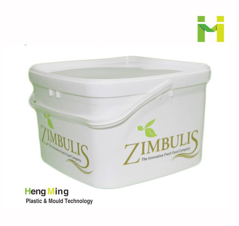 3L square food storage plastic pail