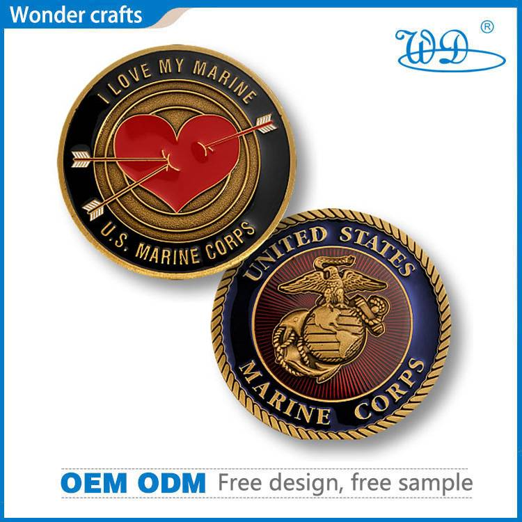 Commemorative Us Marine Corps Die Struck Zinc Alloy Imitation Gold Swirl Edge Custom Challenge Coin