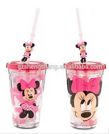 Just need to pay USD0.6/pcs!!!!Double wall clear plastic cup with straw and lids