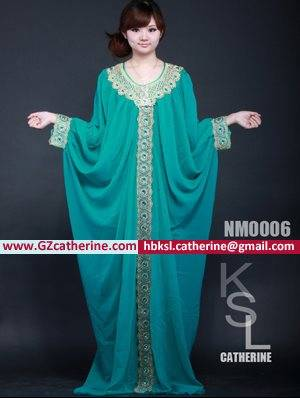 Green Embroidery Stones Beaded Bat Abaya Designer Jilbab Jalabiya
