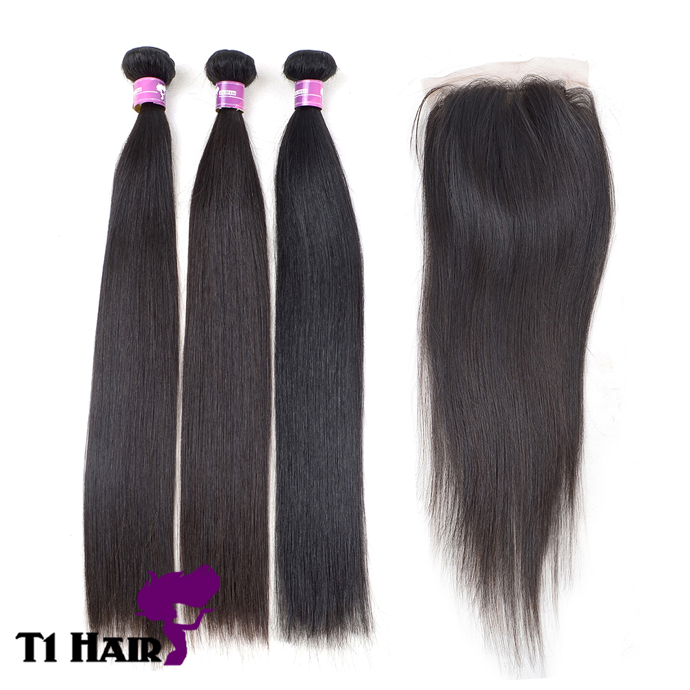 T1 Hair Grade 5A 3 Bundles Brazilian Virgin Remy Straight Hair Weave Extensions with 44 Free Part Si