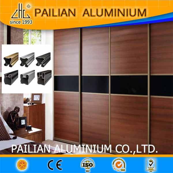 Aluminium anodized profiles sliding wardrobe door /6063 aluminium extrusion profiles for sliding war