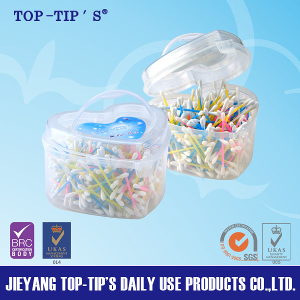 PBH-Top quality plastic stick cotton buds in box