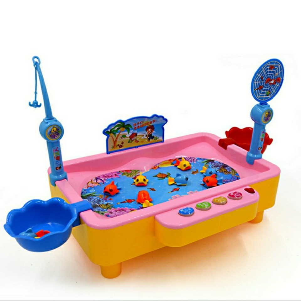 2019 New Arrival Fishing Toys Child Music Playing House USB Electronic Fishing Platform Spin Magnet